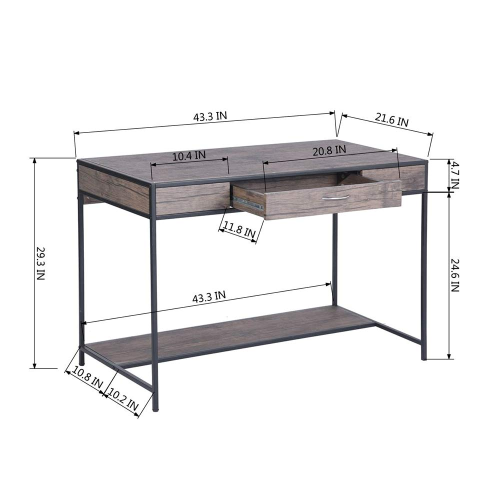 Aingoo Computer Writing Desk with Drawers,Home Office Rustic Metal MDF Wood Mid Century Large PC Table for Brown Farmhouse (Brown) by Aingoo (Image #6)