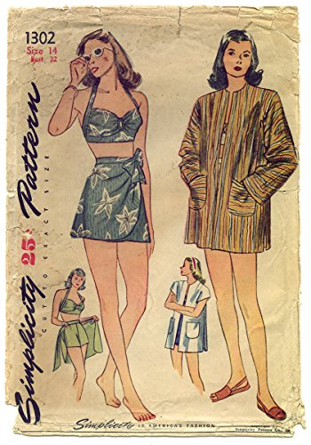[Rare Vintage 1940's Hawaiian Pin-up Girl 2-piece Sarong Bathing Suit Pattern-Size 14] (1940s Pin Up Girl)