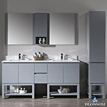 "BLOSSOM 000-72-15-D30-LC Monaco 72"" Double Vanity Set with Linen Cabinet Metal Gray"
