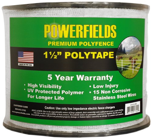 Powerfields EW15-330 1.5-Inch Wide Polytape, 330-Feet, White