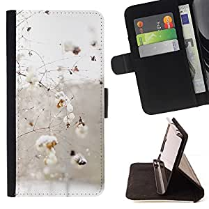 For HTC One M9 Case , Ramas de invierno nieve pájaros blancos- la tarjeta de Crédito Slots PU Funda de cuero Monedero caso cubierta de piel