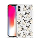 Unov Case Clear with Design Slim Protective Soft TPU Bumper Embossed Pattern [Support Wireless Charging] Cover for iPhone Xs Max 6.5 Inch(Pug Dog)