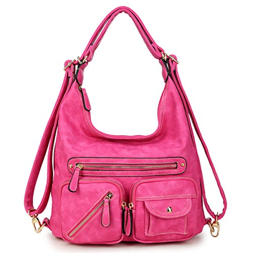 Shoulder Hobo Womens Convertible Bag Multi Designer Fuchsia Backpack Purse Handbag Pockets Soft Vintage SRwUxg58qw
