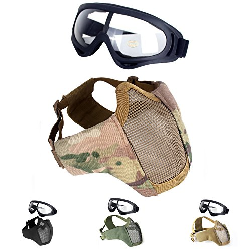Unigear Half Face Lower Mask Foldable Mesh Adjustable Tactical Metal Steel Mask for Airsoft/Hunting/Paintball/Shooting(Camo)