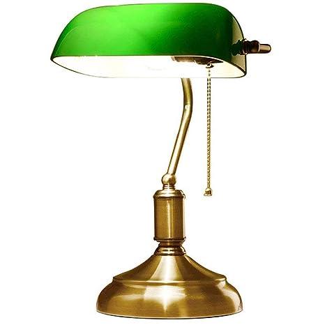 Lámpara Banquero - Opalina Verde - 37 CM - Cadena