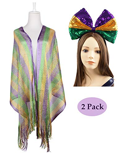 JAWEAVER Mardi Gras Scarfs Blouse Headwear Headpiece For Women Girls Purple Green Gold Accessories Sets