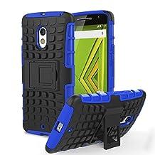 Motorola Moto X Play / DROID Maxx 2 Case, MoKo Heavy Duty Rugged Dual Layer Armor with Kickstand Protective Case for Motorola Droid Maxx 2 / Moto X Play - Blue