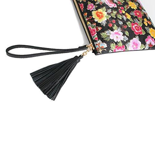 Combinaison Soie Fleur de des et Cuir la Femmes de Pivoine de Motif Noir d'embrayage Sac Kesylang AzaxwHH
