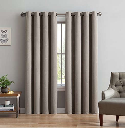 Camilla Fabric Set (Camilla Premium Quality Embroidered Thermal Weaved Blackout Window Treatment, Energy Efficient, Noise Reduction, Blocks 97% of Light and UV Rays, Taupe/Linen, 54W x 84L)