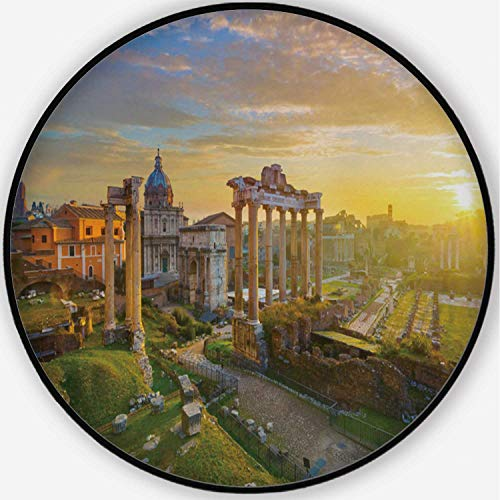 ALUONI The Roman Forum at Sunrise in Rome Colorful Round Mat, Cute Floor Mat,Italy for Kid's Room,6'Round (Best Place To See Sunrise In Rome)