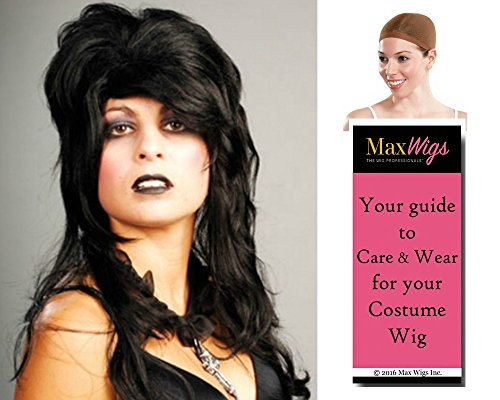 Elvira Costumes Wig (Bundle 3 items: Elvira Black Mistress of the Night Costume Vampire Wig Enigma Wigs - Color Brown, Wig Cap, MaxWigs Costume Wig Care Guide)