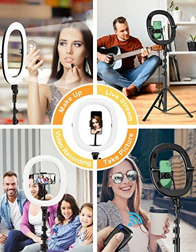 "[Upgraded] 12"" Foldable Selfie Ring Light with Tripod Stand & Phone Holder, STOON LED Dimmable Ringlight with Carry Bag for Live Stream/Makeup/YouTube Video/Photography, Compatible with iOS/Android"