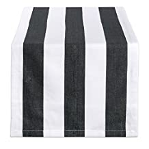 "DII 100% Cotton, Machine Washable, Classic Table Runner For Dinner Parties, Events, Decor 18x72"" - Black & White Cabana Stripe"
