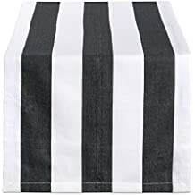 DII 18x108 Cotton Table Runner, Black & White Cabana Stripe - Perfect for Halloween, Dinner Parties, BBQs and Everyday Use