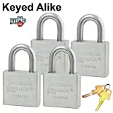 Master/American Padlock - (4) High Security Locks Solid Stainless Steel A6460NKA-4 BumpStop