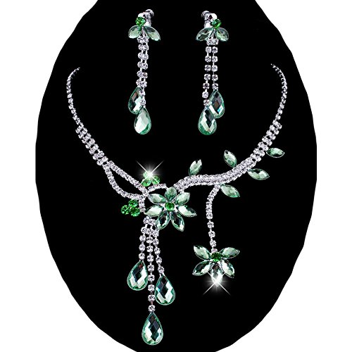 Wedding Flower Necklace Crystal Rhinestone - Chunlin Wedding Bridal Flower Leaf Rhinestone Crystal Necklace Drop Earrings Jewelry Set (Green)