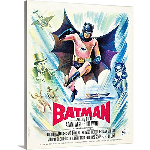 Premium Thick-Wrap Canvas Wall Art Print Entitled Batman, French Poster Art, 1966 16