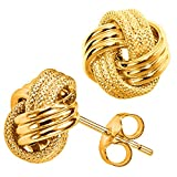Just the perfect touch to enhance your everydays look. These Italian made 10k gold 3-row love knot stud earrings are crafted in a beautiful design to enhance any ensemble. A combination of textured and high polish finish with butterfly clasps complet...