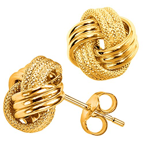 10k Yellow Gold Shiny And Textured Triple Row Love Knot Stud Earrings, -