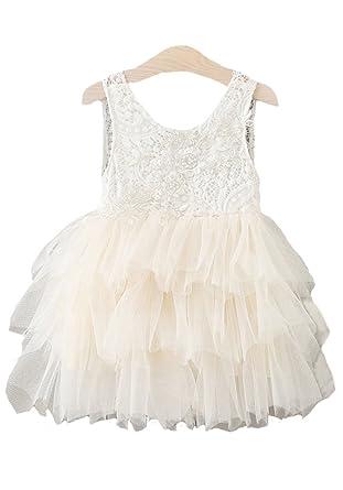859ba99707 Horcute Short-style Sleeveless Beaded Lace Tulle Tiered Tutu Flower Girl  Birthday Party Dress Ivory