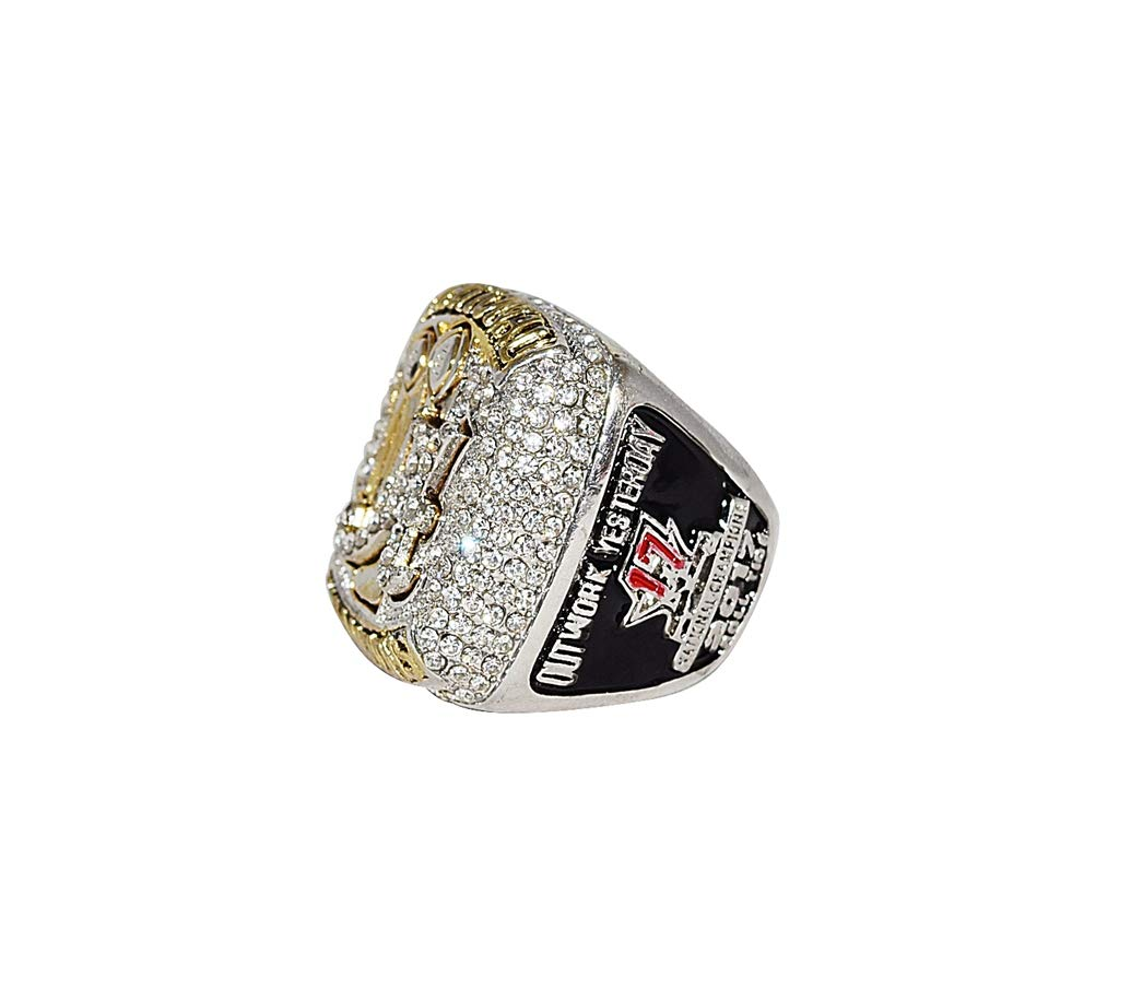 UNIVERSITY OF ALABAMA CRIMSON TIDE (Coach Nick Saban) 2017 CFP NATIONAL CHAMPIONS (Outwork Yesterday) Collectible High Quality Replica Silver Football Championship Ring with Cherrywood Display Box