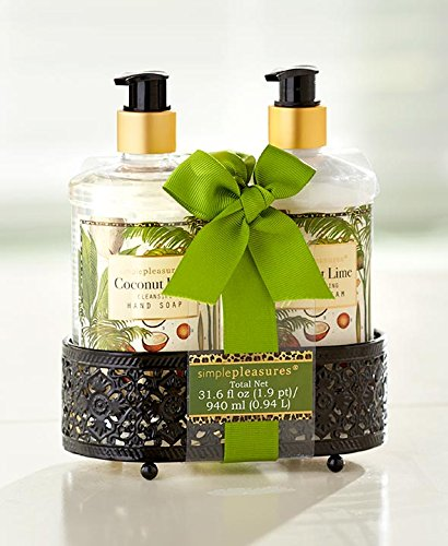 Hand Care Caddy - Simple Pleasures 2-pc Hand Soap & Hand Cream Caddy Gift Set (Coconut Lime)