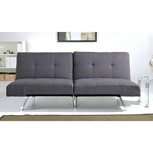 Aspen Grey Fabric Foldable Futon Sleeper Sofa Bed