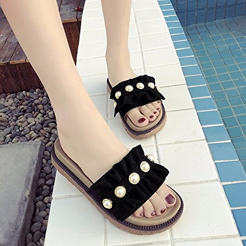 fashion new The women thick shoes XIAOGEGE wearing Black cool and drag slotted 1Eqd5w5