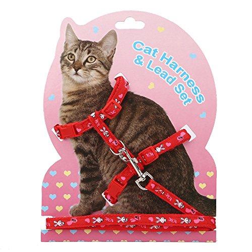 et Cat Harness Nylon Strap Collar Kitty Harness Lead Leash Halter Harness Escape Proof ()