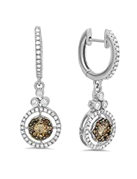 0.80 Carat (ctw) 14K Gold Round Champagne & White Diamond Halo Dangling Drop Earrings 3/4 CT