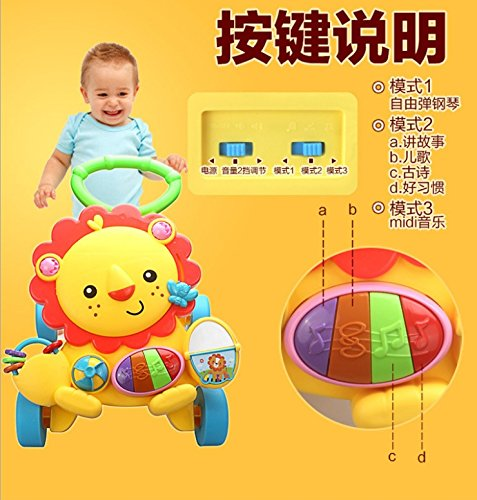 Baby Walker Baby Early Learning Puzzle Multi-Function Walker with Music Little Lion Anti-Rollover Cart by Baby walker (Image #3)