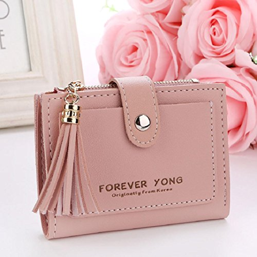 ShenPr Coin Holders Short Purse Women Letters Card Tassel Clearance Zipper Pink Handbag Wallet 0xq0yX6rvw