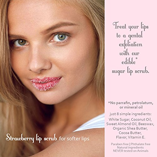 Sisters in Spa Strawberry 2 oz. Sugar Lip Scrub for Silky Smooth Kissable Lips – Made in the USA by Sisters in Spa (Image #2)