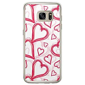 Loud Universe Samsung Galaxy S7 Edge Love Valentine Files Valentine 9 Printed Transparent Edge Case - White/Pink