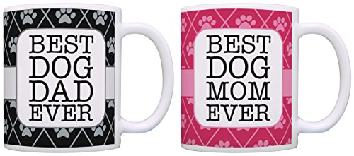 Dog Gifts for Women and Men Best Dog Mom and Dad Ever Dog Rescue Dog Themed Gifts Dog Mug 2 Pack Gift Coffee Mugs Tea Cups Pink/Black (Teacup Noir)