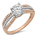 1.45 Ct Round Cut Pave Halo Engagement Promise Wedding Bridal Anniversary Ring Band 14K White Rose Gold Gold, Clara Pucci