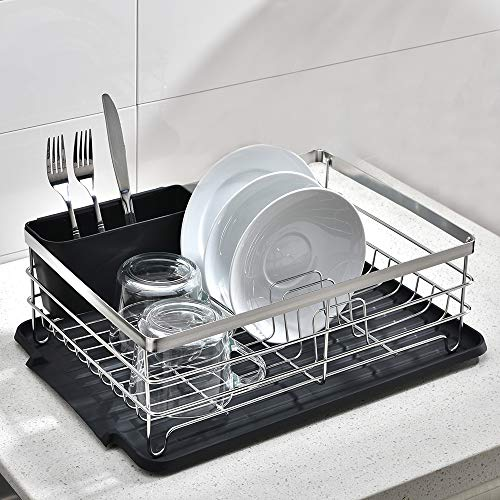 """VCCUCINE Modern Kitchen Sturdy Stainless Steel Metal Wire 15.4"""" x 11"""" x 5.6"""" Dish Drying Rack, Chrome Dish Rack with Black Drainboard Cutlery Cup Utensil Organizer Holder"""
