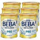 Nestlé BEBA Optipro Pre Anfangsmilch, 6er Pack (6 x 800 g), Pulver, wiederverschließbar, mit praktischer Messlöffelablage, 800 g Dose