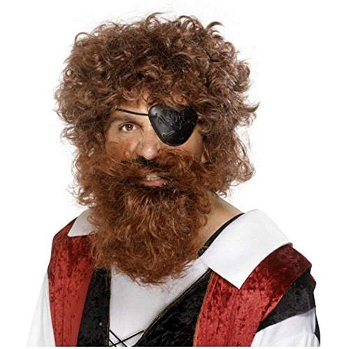 Short Brown Beard Costume (Deluxe Pirate Beard Costume Accessory)