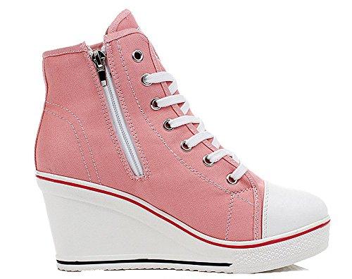 Encaje 35 Grande as Mujer Zapatos Wealsex Lona Rosa Cu Zapatos Casuales 43 top De High Talla TwcRRvAqO7