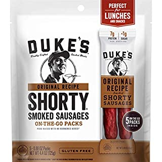 DUKE'S Original Recipe Smoked Shorty Sausages, Keto Friendly, On-the-Go Twin Pack, 5 Count per pack, 4.4 Ounce
