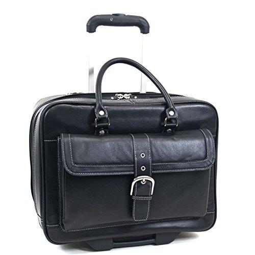 Heritage Women's Leather Wheeled Business Case Laptop Bag, Black, One (Gusset Wheeled Portfolio Computer Case)