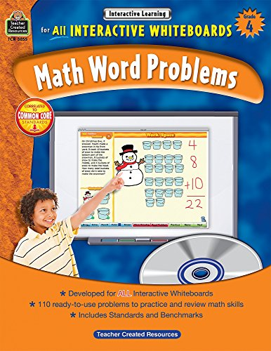 Math Word Problems for All Interactive Whiteboards, Grade 4