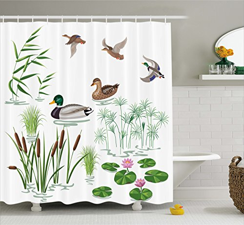 Ambesonne Duck Shower Curtain Set, Lake Animals and Plants with Lily Flowers Reeds and Cane in the Pond Nature Park Print, Fabric Bathroom Decor with Hooks, 70 Inches, White - Lily Collection Pond