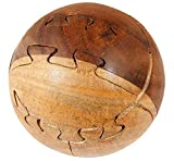 3D Wooden Brain Teaser Puzzle Ball Lock – Diamond Cube Interlocking Jigsaw Sphere