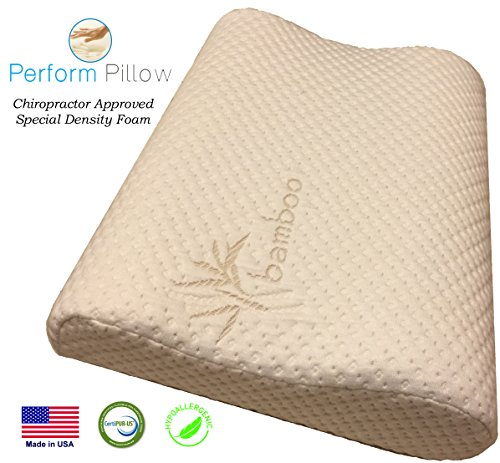 Memory Foam Neck Pillow - Double Contour - Chiropractor Approved - Washable Soft Bamboo Cover - Great for Neck Pain, Travel, Deep Sleep