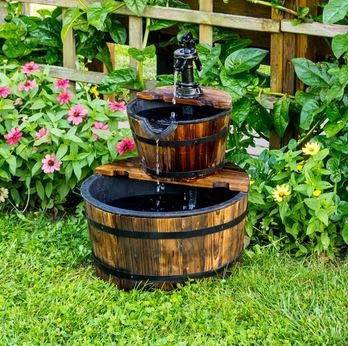 (Ark Dcor- Backyard Water Fountains Outdoor - Brown Wood Resin 2 Tier Water Barrel Design with Pump - Bring Charm to Your Garden Or Veranda with This Eye-Catching Fountain)