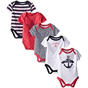 Nautica Baby-Girls Newborn 5 Pack Anchor Bodysuit, Assorted, 3-6 Months