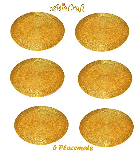 """AsiaCraft Set Of 6 Beaded Round Ethnic Placemat/Tablemat(Dia - 12"""") for Christmas Gift, Decorative Item,dining accessories"""