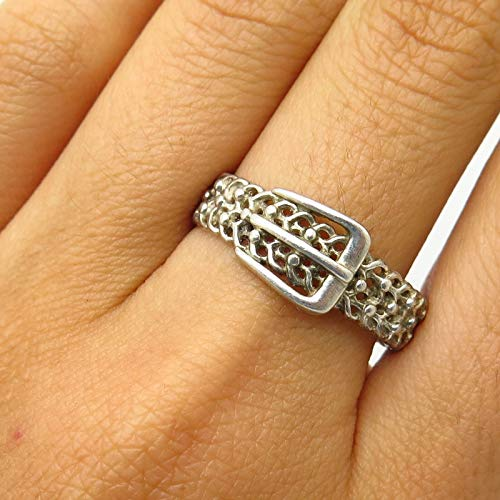 Signed 925 Sterling Silver Belt Buckle Design Ring Size 10 Jewelry by Wholesale Charms (Signed Buckle)